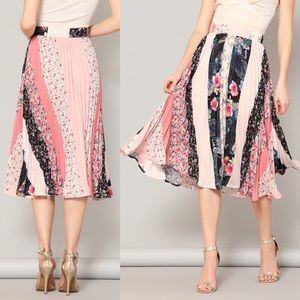 Dresses & Skirts - 🆕floral stripe thick waist chiffon midi skirt